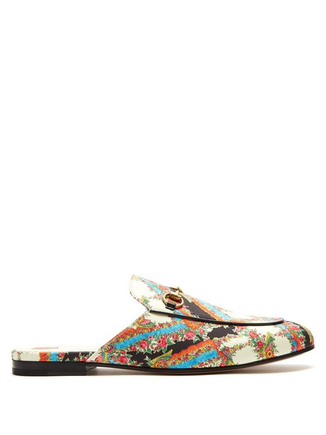 backless loafers floral print white shoes
