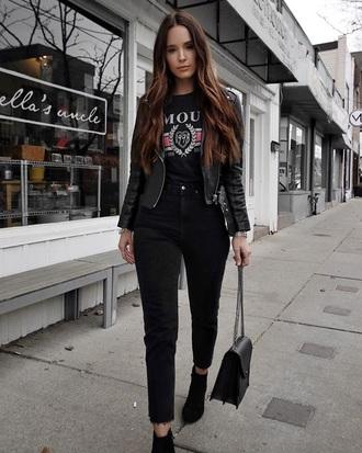 jacket top leather jacket black leather jacket boots black boots black top black jacket jeans black jeans all black everything