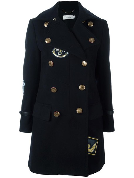 coach coat double breasted women cotton blue wool