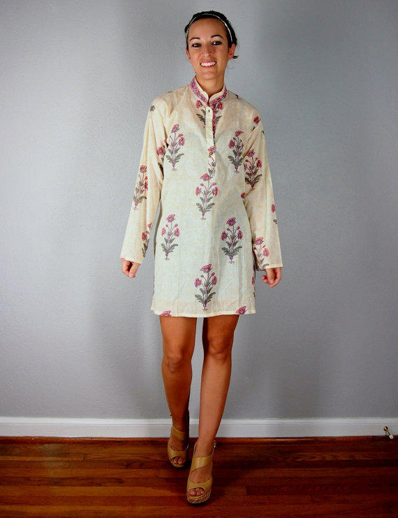 Dress tunic white ivory moroccan