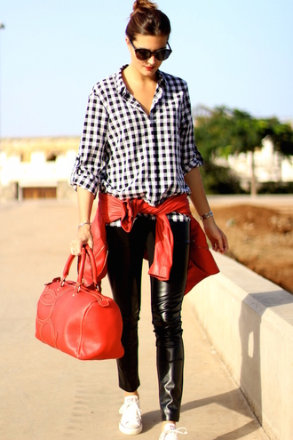marilyn's closet blog blogger red jacket red bag gingham leather leggings