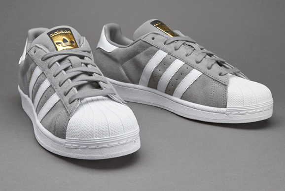 adidas grey superstar suede formateurs