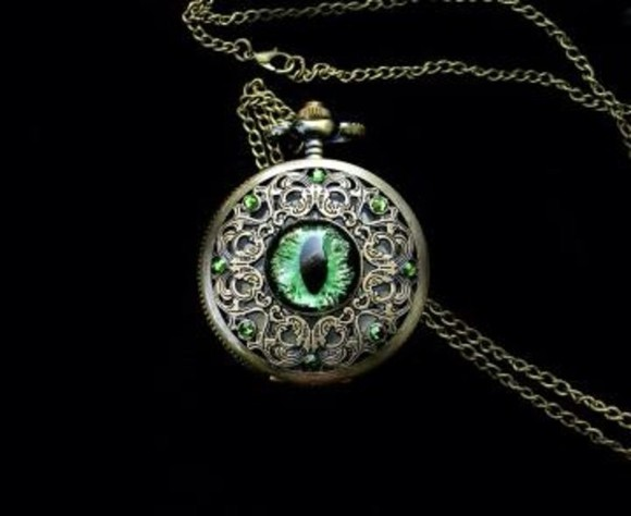 green jewels peridot pocket watch eyes