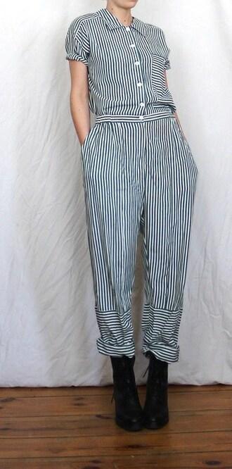 jumpsuit stripes vintage overall