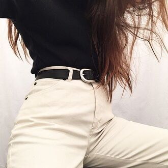 pants pale black belt love