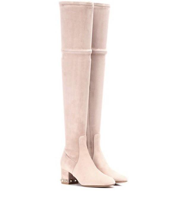 Valentino Garavani Rockstud suede over-the-knee boots in pink