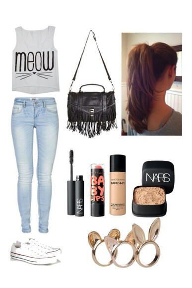 bag fringe meow cats muscle tee grey light wash jeans high waisted jeans makeup nails hair converse t-shirt jewels