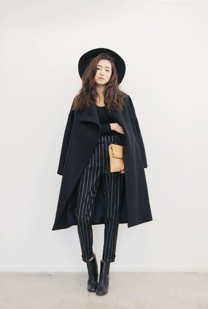 Pants Coat Jacket Black Stripes Long Wide Kstyle Casual Elegant Chic Office Outfits