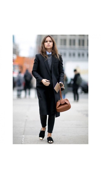 shoes black black shoes coat long street style brown leather bag bicolor chic classy shirt women