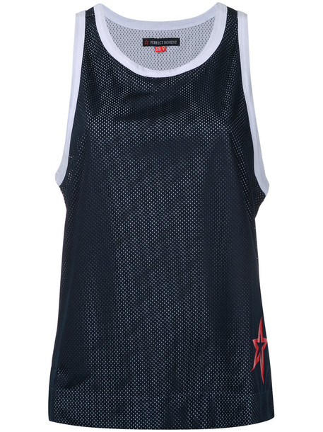 Perfect Moment - mesh tank - women - Polyester - M, Blue, Polyester