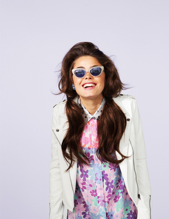 dress nastygal bambi biker jacket white moto jacket retro floral floral dress shirt dress flowers jacket sunglasses