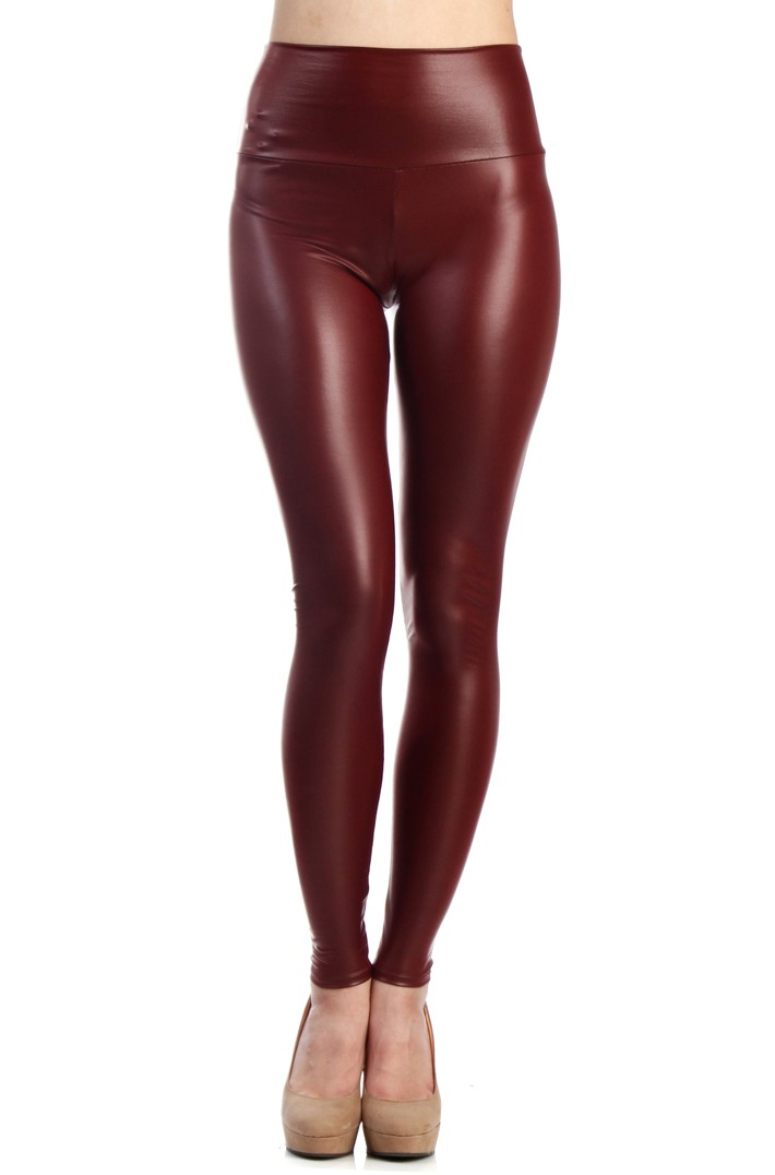 WAIST FAUX LEATHER LEGGINGS -Burgundy