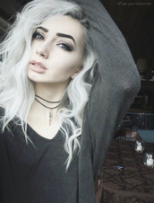 blouse,white hair,white,blue eyes,alternative,smokey eyes,choker necklace,nude lipstick,grey,grey shirt