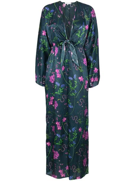 Borgo De Nor dress women cotton blue silk