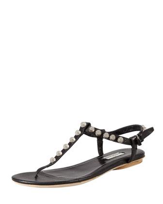 Balenciaga Nickel Studded Thong Sandal, Black - Neiman Marcus