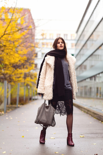 the fashion fraction blogger lace skirt black skirt fuzzy coat coat sweater skirt shoes bag jewels beige fluffy coat white fluffy coat sweater over dress lace dress black lace dress black dress grey sweater scarf winter scarf teddy bear coat
