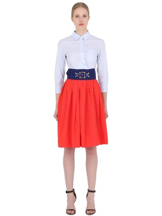 skirt cotton white red