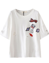 t-shirt,top,white,ripped,torn,back to school,summer,brenda-shop,patch,holes,cool,cute