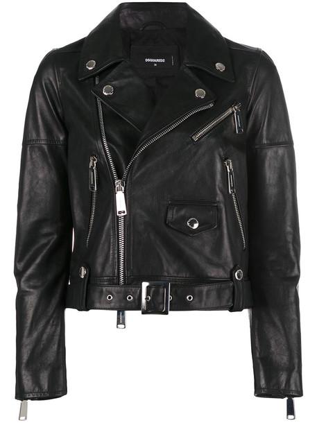 Dsquared2 jacket biker jacket women leather cotton black