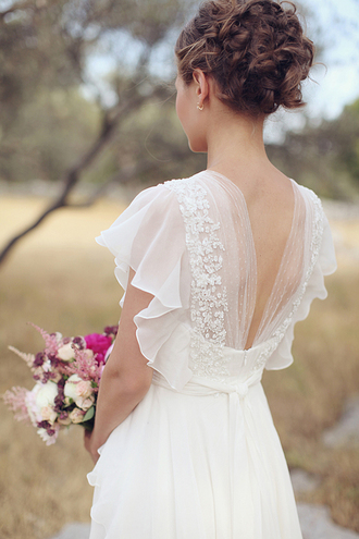 dress wedding dress open backed dress vintage elegant