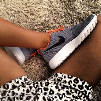 shoes nike nike shoes orange black and white black white shorts leopard shorts leopard print orange laces luxury