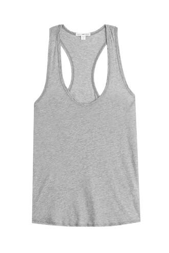 tank top top back cotton grey