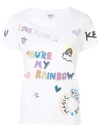 t-shirt shirt rainbow women white cotton top