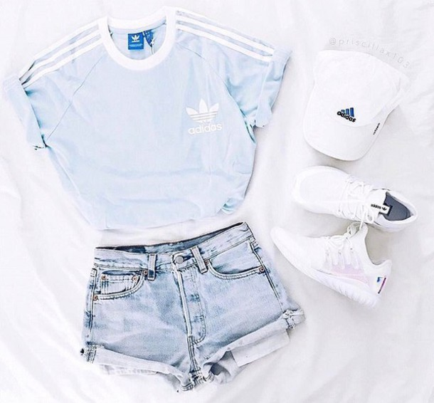 t-shirt blue sky blue adidas adidas originals