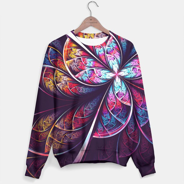 sweater abstract wave flowers purple yellow violet