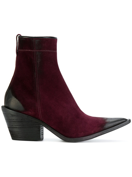 Haider Ackermann cowboy boots women leather suede purple pink shoes