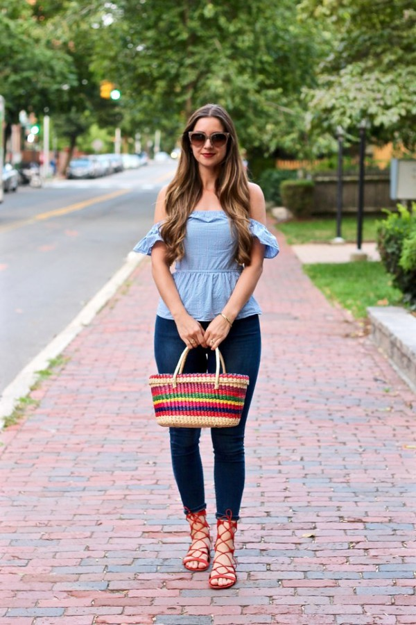 lamariposa blogger top jeans shoes bag sunglasses