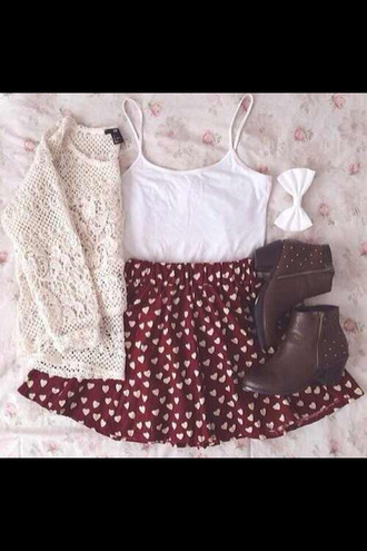 skirt heart lace skater skirt tank top sweater ankle boots bows hair accessory shoes