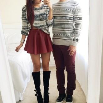 white sweater loose oversized sweater grey sweater boyfriend couple sweaters