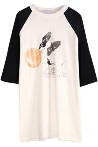 t-shirt shirt dog white black black and white long