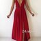 A-line backless red long prom dress, evening dress - 24prom