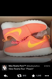 shoes,roshe runs,peach,sneakers