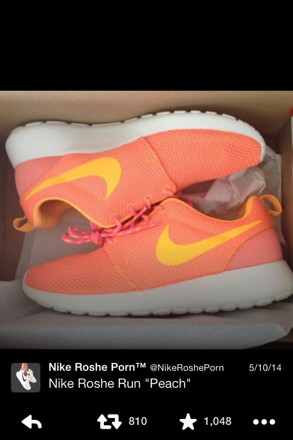 shoes roshe runs peach sneakers