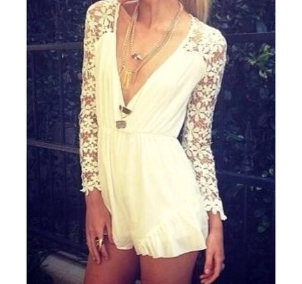dress jumpsuit flowers white lace romper frill jumpsuit white jumpsuit romper frilly dress summer outfits ebonylace.storenvy ebonylace-streetfashion lace jumpsuit