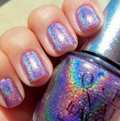 nail polish,holographic,rainbow,glitter,sparkle,opi,silver,nails,pretty,colorful,jewels,painted,cool,metallic nails