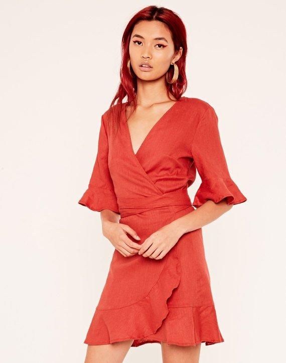 03da814954 Linen Blend Wrap Dress   Buy Online at Glassons