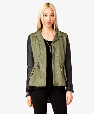 Faux Leather Sleeve Utility Jacket | FOREVER 21 - 2023229863