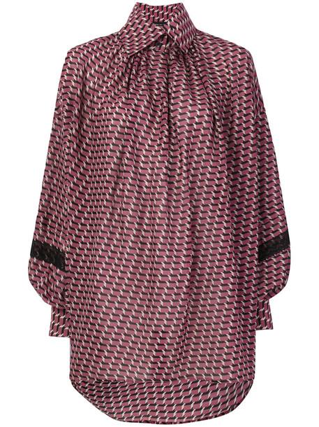 Etro - oversized patterned button collar shirt - women - Silk/Cotton/Nylon - 44, Pink/Purple, Silk/Cotton/Nylon