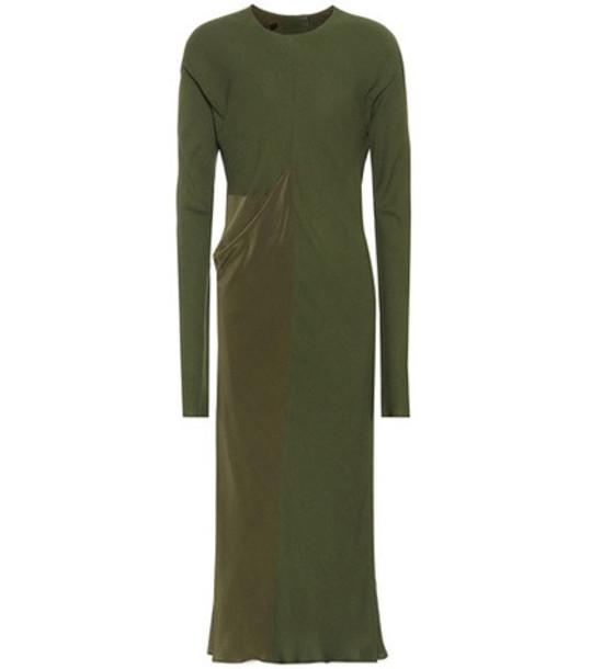 Haider Ackermann Long-sleeved midi dress in green