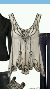 shirt,sequins,dressy shirt,tank top,deco,top,lipsy deco beaded swing top,lipsy,beaded top,beaded,blouse,white,silver,chiffon