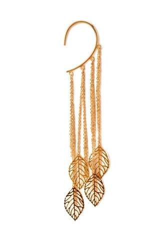 jewels long leaves hoop cute gold light earrings forever 21