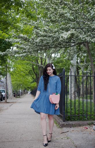 noelles favorite things blogger dress bag shoes denim dress