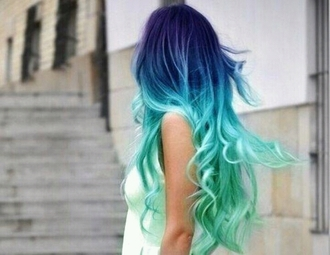 t-shirt blue denim cotton hairstyles ombre style me colorful pastel hair ombre hair
