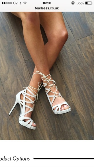 shoes white shoes strappy heels lace up high heels