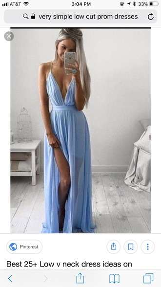 dress low v neck light blue
