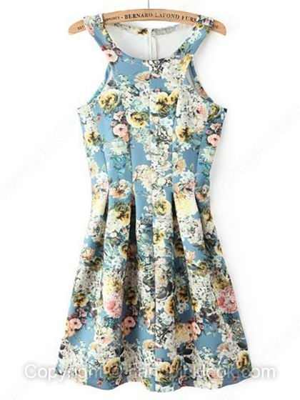 Blue Scoop Sleeveless Floral Print Dress - HandpickLook.com